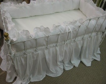 Bright White Washed Linen Crib Bedding-Ruffled Bumpers-Storybook Crib Skirt-Made to Order Crib Bedding