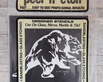 Armour Peel 'N' Etch Designer Stencil Grizzly Glass Supplies