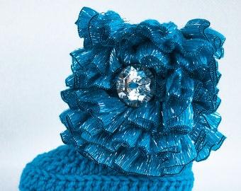 Aquamarine Ruffle Infant Crochet Boots- Choose Your Size