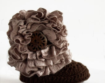 Cafe au Lait Ruffle Baby Crochet Boots- Choose Your Size