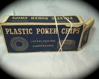 Vintage Red white and Blue Interlocking Poker Chips.