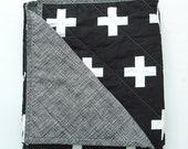 Black and white swiss cross quilted blanket, Unisex, Scandinavian, home and living, bedding, whole cloth quilt, baby, toddler, twin size