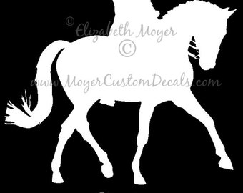 Dressage Horse and Rider Vinyl Decal Sticker YOU PERSONALIZE Name and Color