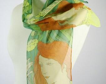 Art nouveau scarf,  hand painted scarf, silk scarf