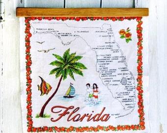 Florida Map Handkerchief Vintage Souvenir Hankie