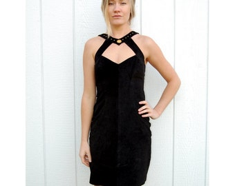 Black suede fitted halter dress with gold detail 1990s 90s VINTAGE