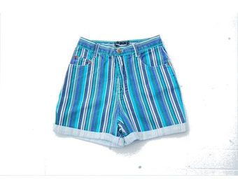 SALE!!!!!!!!! Blue striped high rise cuffed shorts 1990s 90s VINTAGE