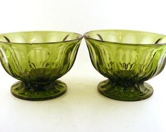 Anchor Hocking Fairfield Compote Pedestal Bowls Avocado Green Glass Vintage Set of 2