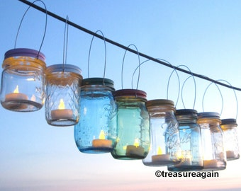 Party Colors Mason Jar Daisy Lids with Handles DIY Hanging Candle Holders or Daisy Flower Frog Lids, Lantern Lids Only, No Jars