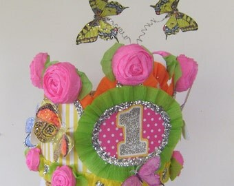 Butterfly Birthday hat, Butterfly Birthday Crown  butterflies, 1st Birthday hat, Garden part crown, customize