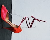 Vintage 70's MAUD FRIZON PINK strappy disco shoes pumps 7 1/2 us leather patchwork high heels open toe by thekaliman