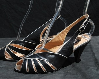 Vintage 70's MAUD FRIZON disco slingback shoes pumps 7 1/2 us 30 eu leather silver trim by thekaliman