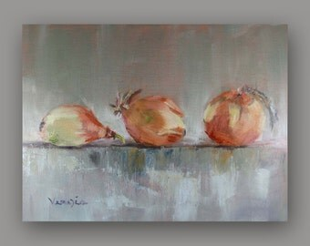 Fine Art Canvas Painting - Oil Painting Still Life with 3 Onions - Original Painting Canvas Art by Carrie Venezia - Brown, Gray