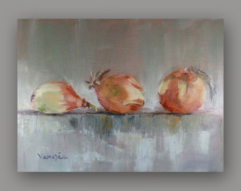 Oil Painting Still Life with 3 Onions - Original Painting Canvas Art by Carrie Venezia - Brown, Gray