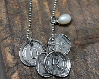 Custom Made Wax Seal STyle Initial Necklace