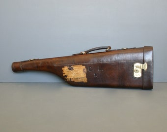 Antique Shotgun Case - Leg of Mutton gun case Circa 1920's - English Leather Gun Case by G. E. Lewis & Sons
