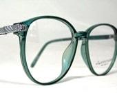 Vintage 80s Large Horn Rim Eyeglass Frames. Green Mint