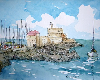 Rhodes Greece art print from an  original watercolor painting