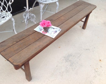 Vintage Farmhouse Rustic Bench / Prairie Cottage Farmhouse Bench / 71 Inch Long Rustic Bench On Sale at Retro Daisy Girl