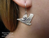 Pelican Earrings Sterling Silver Hand Carved & Cast Fish Hook or Post