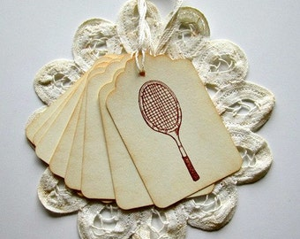 Tennis Gift Tags, Tennis Party Favor Tags, Personalization Available