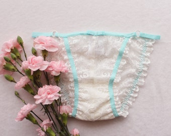 Lingerie Sample SALE OOAK Ivory Lace Strappy Bridal Panties with Aqua Blue Trim Size Small / Medium