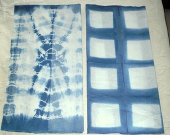 Indigo SHIBORI quilting cotton hand dyed art fabric sewing crafts home decor  from MyGypsyCottage on Etsy