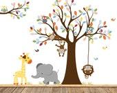 Nursery Wall Tree Decal, Nursery Owl Monkey Wall Decal, Boys Nursery Art, Vinyl Decals, Monkey Art, Elephant Wall Art