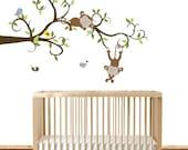 Modern Swirl Branch Decal, Kids Wall Art Vinyl, Boys Nursery Art, Girls Wall Decals, Monkey Nursery, Vinyl Decals