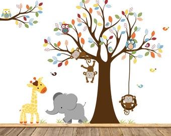 Nursery Wall Tree Decal, Nursery Owl Monkey Wall Decal,Vinyl Decals, Monkey Art, Elephant Wall Art
