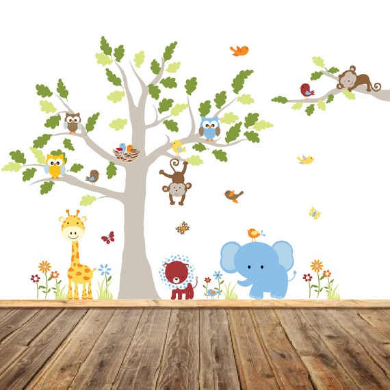 VACATION SALE-All orders ship Aug 15th!!Vinyl Wall Decal Stickers, Children's Jungle Tree Decal, Bird Nursery Art, Giraffe, Elephant