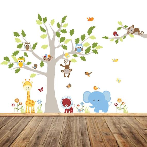 Vinyl Wall Decal  Vinyl Wall Decal Stickers, Children's Jungle Tree Decal, Bird Nursery Art, Giraffe, Elephant