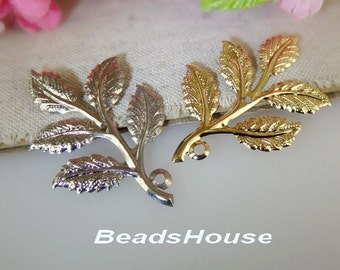 2pcs - Golden Plated or Silver Plated Branch Tree Filigree ,Nickel Free