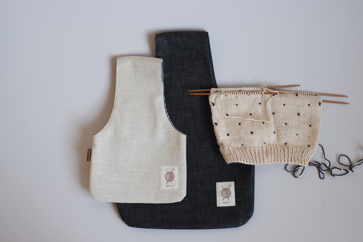 Two Knitting Bags 2 Project Bags Two sizes Yarn Bags Small