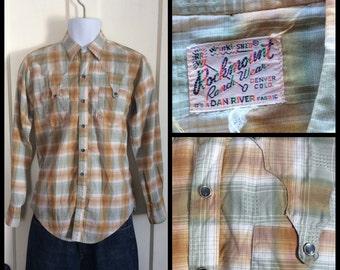 1950's Vintage Rockmount Shadow Plaid Mens Shirt looks size Medium Textured cotton Dan Rivers