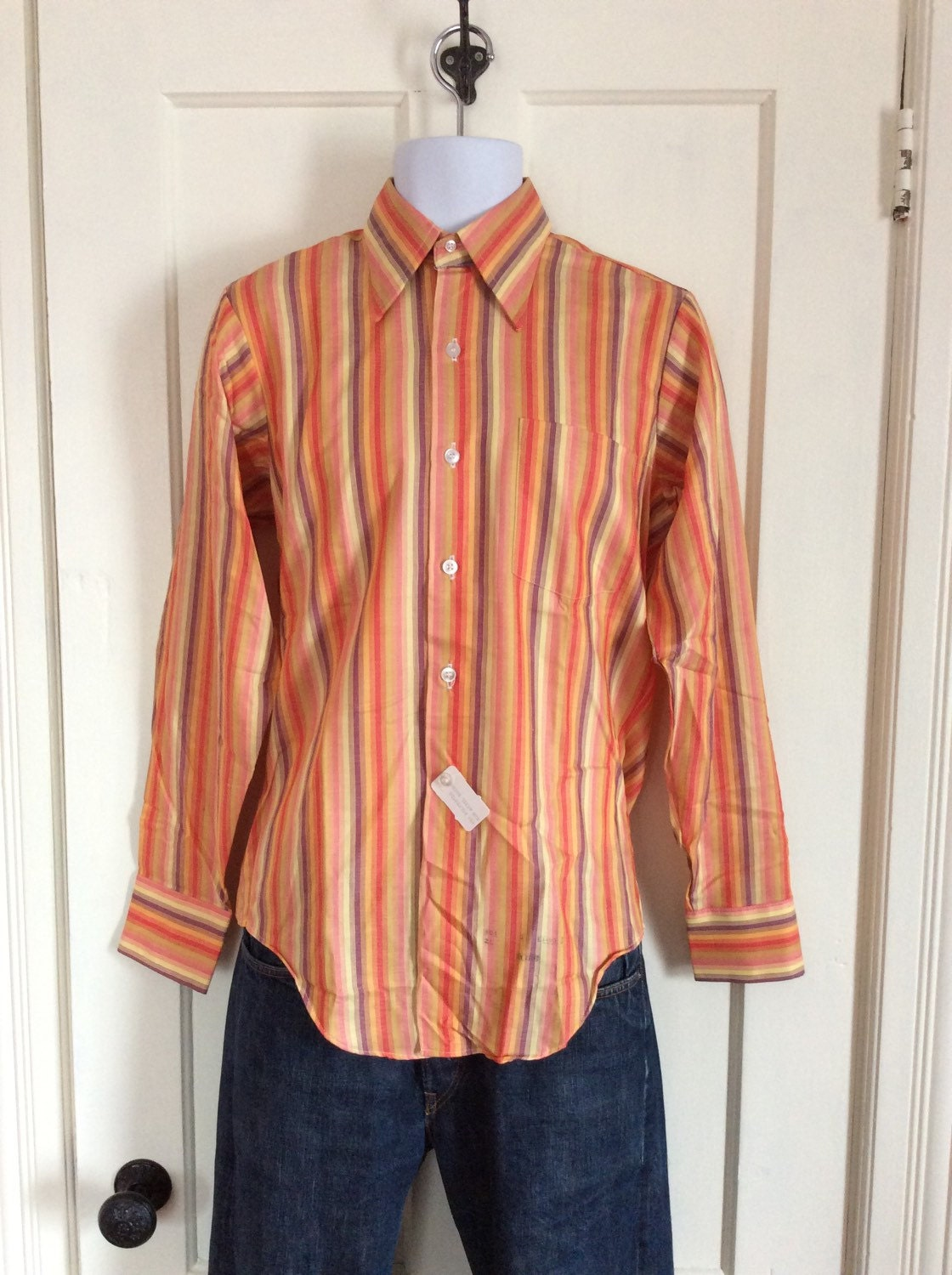 Vintage deadstock 1970 39 s sunset striped mens dress shirt for Mens rayon dress shirts