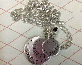 3 Disk Hand Stamped  Mothers Necklace
