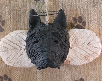SCOTTISH TERRIER Angel Ornament, OOAK handmade from papier mache,Scottie Angel