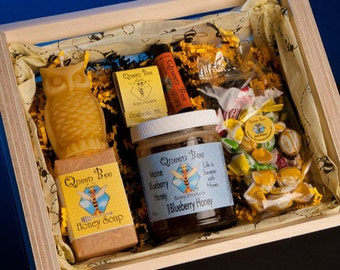 Blueberry honey gift basket by queen bee honey