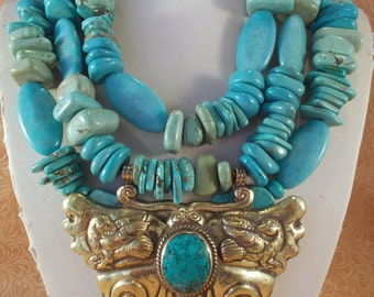 Cowgirl Necklace Set - Chunky Aqua Howlite Turquoise with a Handcrafted Brass Butterfly Pendant - Bracelet Included