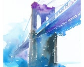 Brooklyn bridge watercolor print. New York Illustration Print series