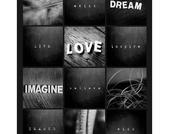 Inspirational Print Set, Inspirational Quotes, Modern Photo Collection, Black White Photography Set, Inspirational Saying Wall Art, Photo