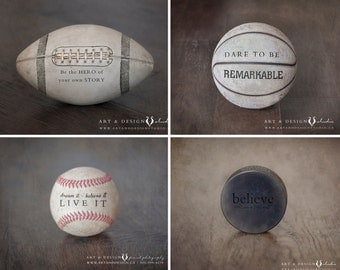 Sports Art Print Set, Sports Decor Collection, Inspirational Sports Quotes, Nursery Decor Sports, Rustic Sport Art Print, Boys Bedroom Decor