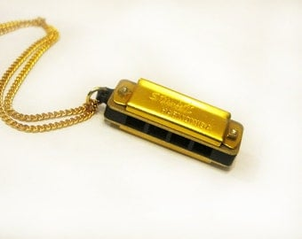 Gold Harmonica Musical Pendant Necklace