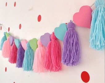 Tassle and Wooden Heart Garland,  Tassle Garland, Tassle Bunting, Glitter Decoration, Wall Decoration, Heart and Tassle decoration.