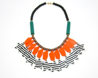 Plastic Lucite Orange Green Stripped Star Beads Handmade Statement Necklace