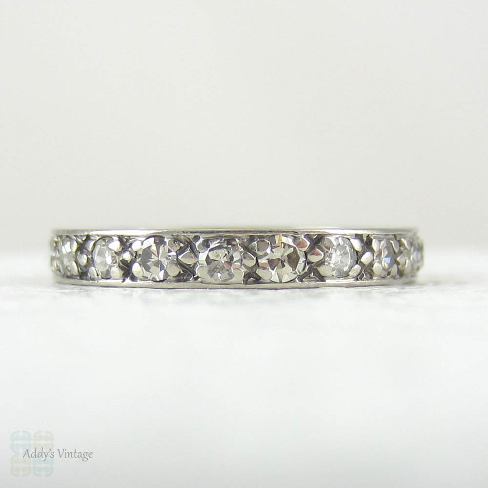 White Gold Diamond Eternity Wedding Ring Pave Bead Set By Addy