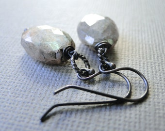 Labradorite Gemstone Earrings / Mother's Day Gift / Jewelry / Handmade Earrings / Sterling  Sexy Earrings / Gemstone Earrings