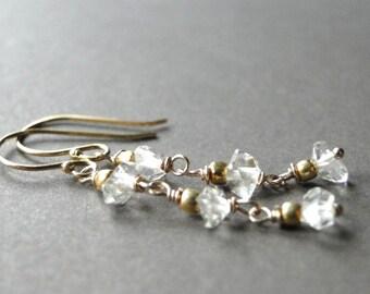 Herkimer Diamond Earrings, 14k Gold Filled Chain Dangle Earrings Diamond Accessories, Gold and Diamond Earrings, Gift for Her