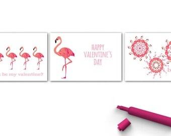 pink flamingo cards | flamingo valentine day cards | printable valentine cards | valentine cards for kids
